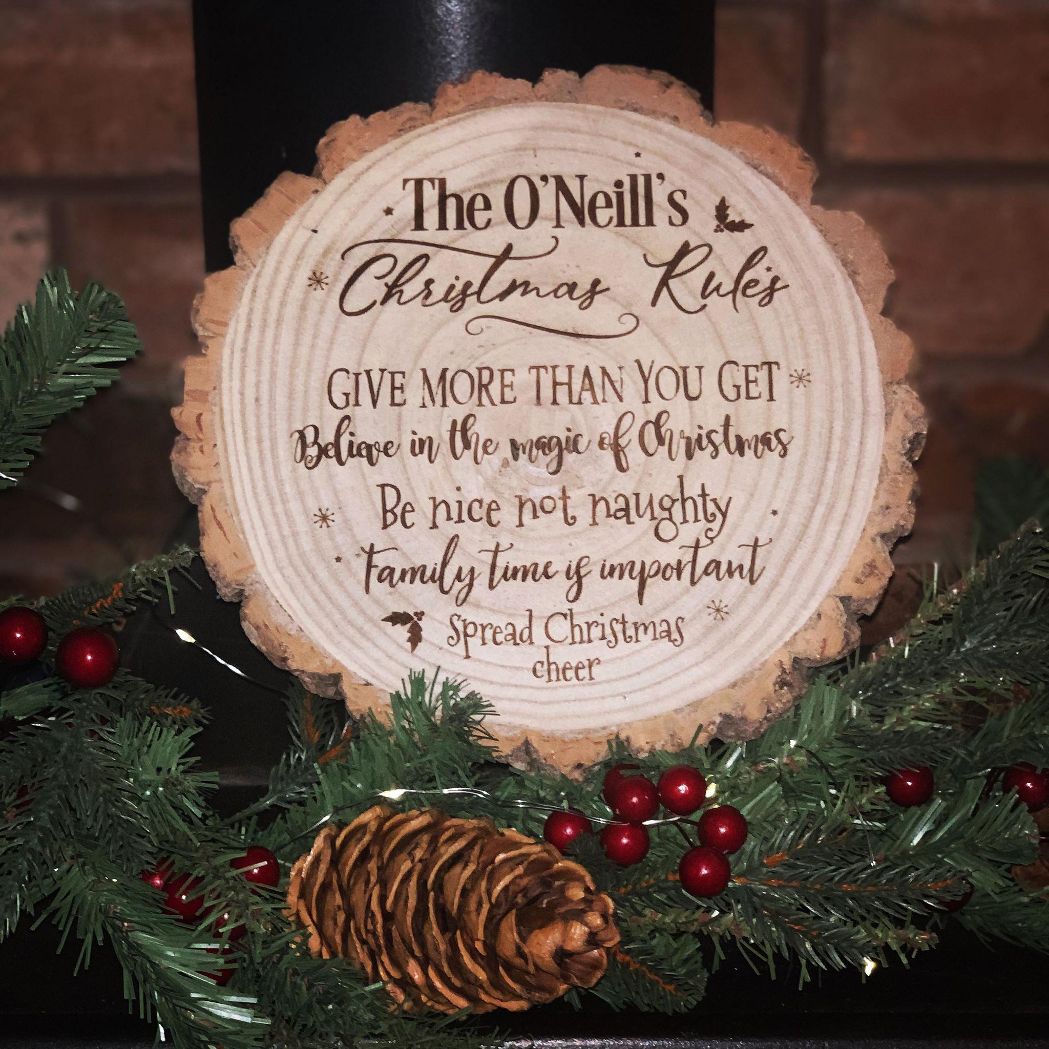 Personalised Engraved Christmas Rules Log Slice