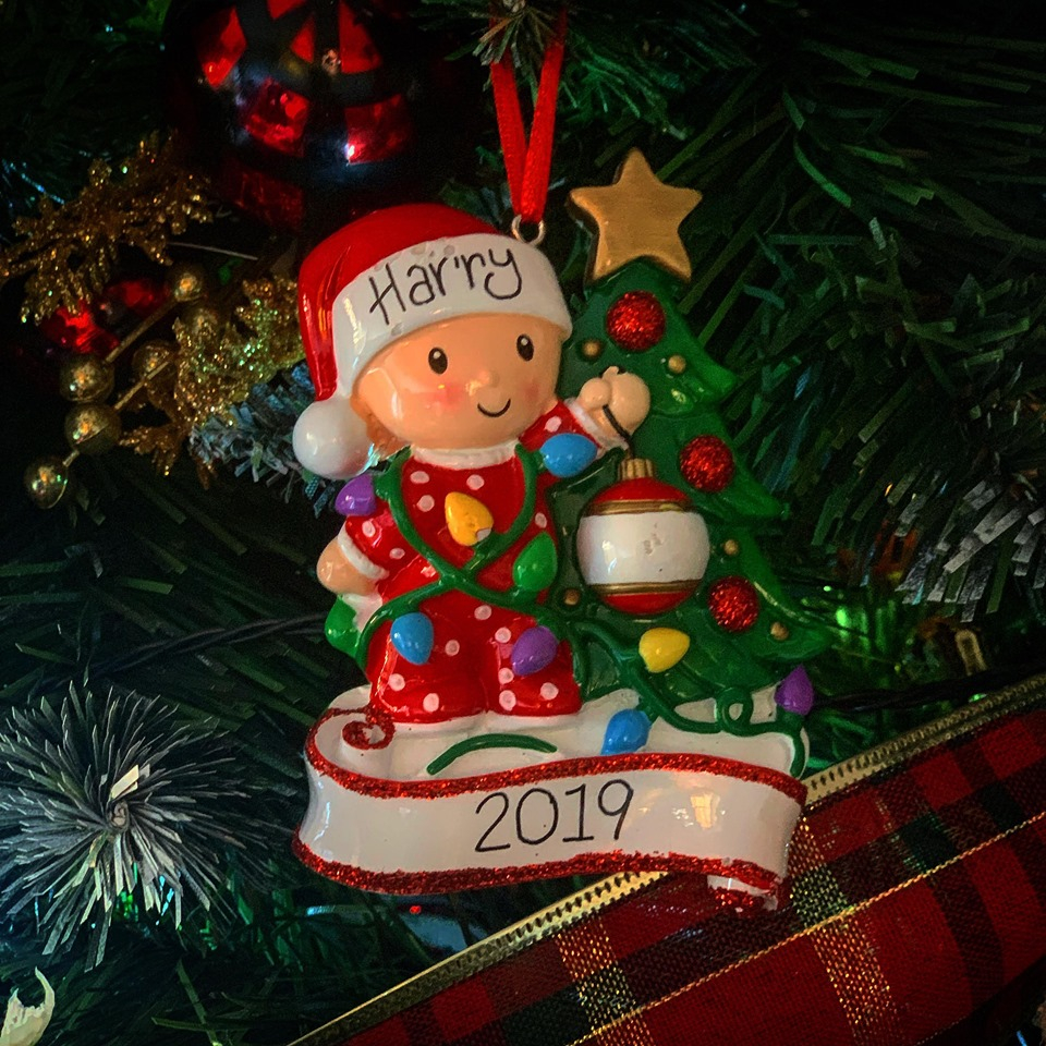 Personalised Child And Tree Christmas Hanging Decoration
