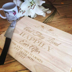 Personalised Wooden Chopping Board - Happily Ever After