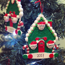 Image of Hanging Candy Cane House Christmas Decoration Personalised