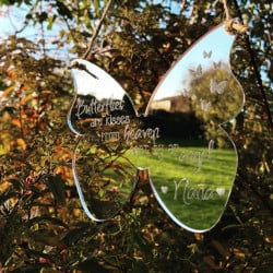 Image of Personalised Butterfly Hanging Mirrored Decoration