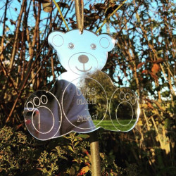 Image of Mirrored Personalised Teddy Bear Hanging Ornament
