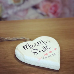 Image of Hanging Mr and Mrs Personalised Love Heart