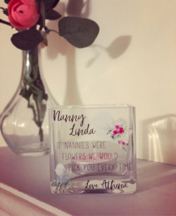 Image of Floral Glass Tealight Holder