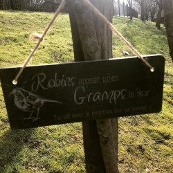 Robins Appear Slate Sign
