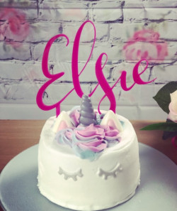 Image of Pink Personalised Acrylic Cake Topper