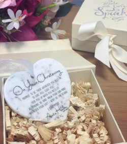 Image of Marble Effect Christening Heart Plaque