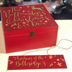 Personalised Classic Collage Red Christmas Eve Box
