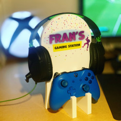 Personalised Gaming Station - Purple Confetti with Dancer
