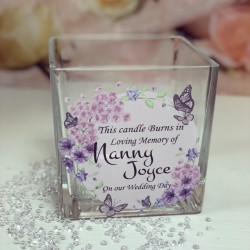 Image Of Floral Butterfly Glass Tealight Holder