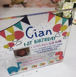 Image of personalised kids birthday acrylic block