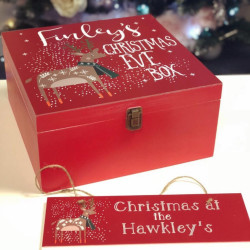 Personalised Reindeer With Scarf Red Christmas Eve Box