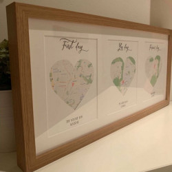 Personalised Maps First Day, Yes Day, Forever Day Triple Frame