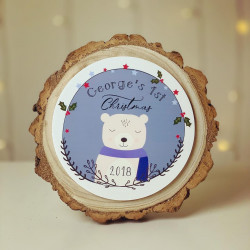 Personalised Christmas Topper Log Slice - Baby 1st Christmas