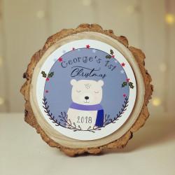 Personalised Christmas Topper Log Slice - Baby 1st Christmas