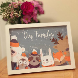Personalised A4 Winter Animals Family Frame