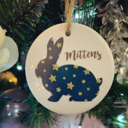 Personalised Hanging Rabbit Christmas Tree Decoration (BUY ONE GET ONE FREE)