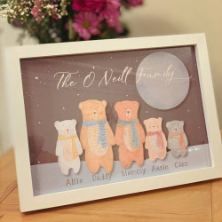 Personalised A4 Winters Night Bear Family Frame