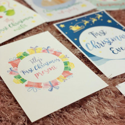 Image of personalised first christmas milestone cards