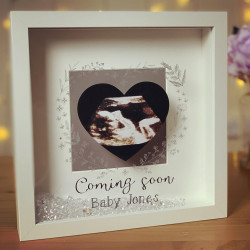 Image of personalised new baby coming soon frame
