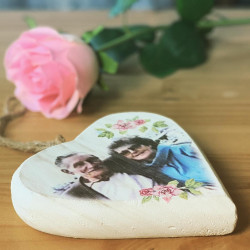 Personalised Floral Photo Chubby Hanging Heart