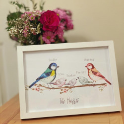 Image of Bird Family A4 Frame