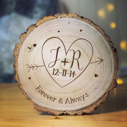 Personalised Initials & Heart Valentines Log Slice