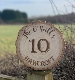 Image of Personalised Engraved Wooden House Number Log Slice