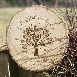 Personalised Engraved Family Heart Tree Log Slice Large  ***GUARANTEED FOR MOTHER'S DAY***