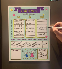 Personalised Couples Doodle Magnetic Planner
