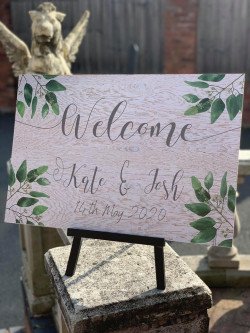 Personalised Welcome Olive Leaf Wedding Sign