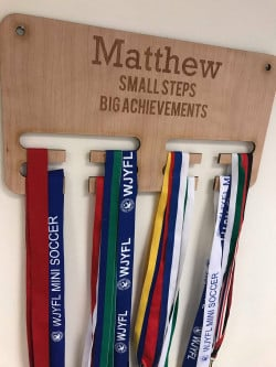 Image of personalised medal hanger