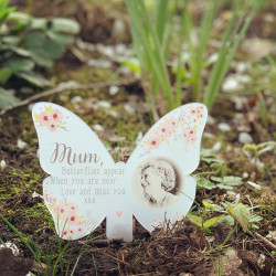 NEW Personalised Floral Photo Remembrance Butterfly