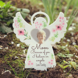 NEW Personalised Floral Photo Remembrance Angel
