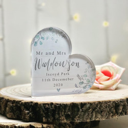 Personalised Blue Floral Acrylic Heart Block