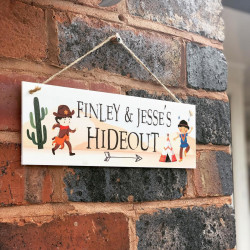 Personalised Childrens Hideout Hanging Plaque