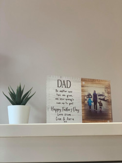 Personalised Wooden Effect Verse And Photo Acrylic Block