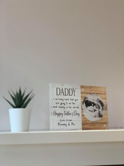 Personalised Wooden Effect Baby Scan Acrylic Block