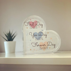 Personalised First Day Acrylic Heart Block