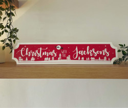 Personalised Christmas Scene Train Sign