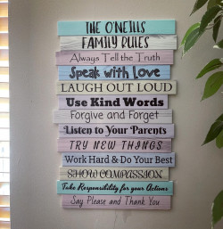 Family Rules Sign - Pastel Wood