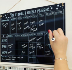 Personalised Black Doodle Family Planner With FREE Pen