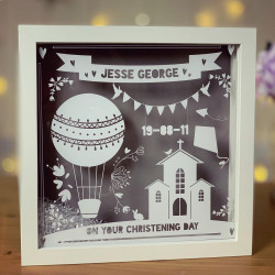 Paper Cut Style Personalised Christening Frame