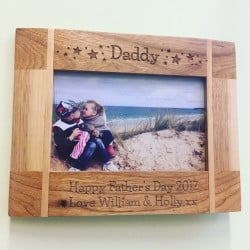 Image of Personalised Oak Photo Frame Star Design