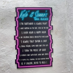 Bars Rules Sign - Neon