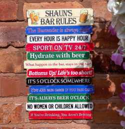 Bars Rules Sign - Rustic