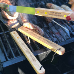 Personalised Engraved BBQ Set (3 piece)  Light wood