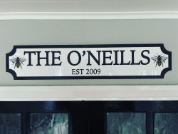 Personalised Bee Theme Colour Edge Train/Street Sign