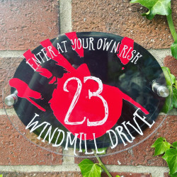 Personalised Blood Stained Hand House Plaque