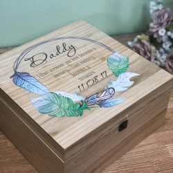 Image of Large Personalised Memory Box with Blue Feathers